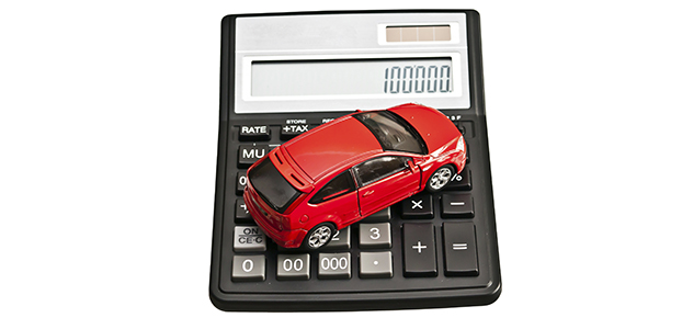 Toy car and calculator.