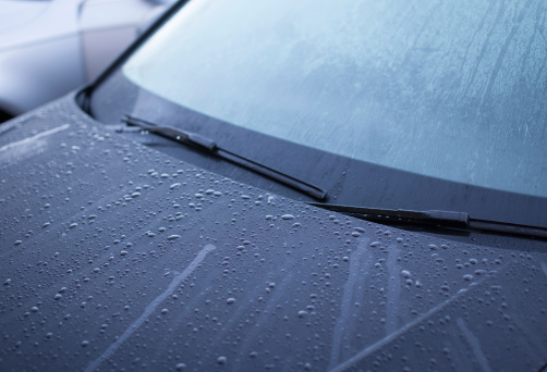 Rain drops on car windshield